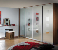 Galaxy 3 Door, silver frame, etched mirror