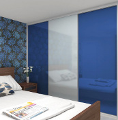Minima 2 door, white frame, marine blue and white panes