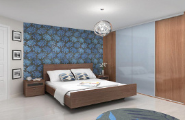 Minima 4 door, white and walnut panes