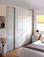 Minima 3 door, walnut frame, soft white panes