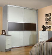 Titan 2 door, silver frame, white pane with walnut